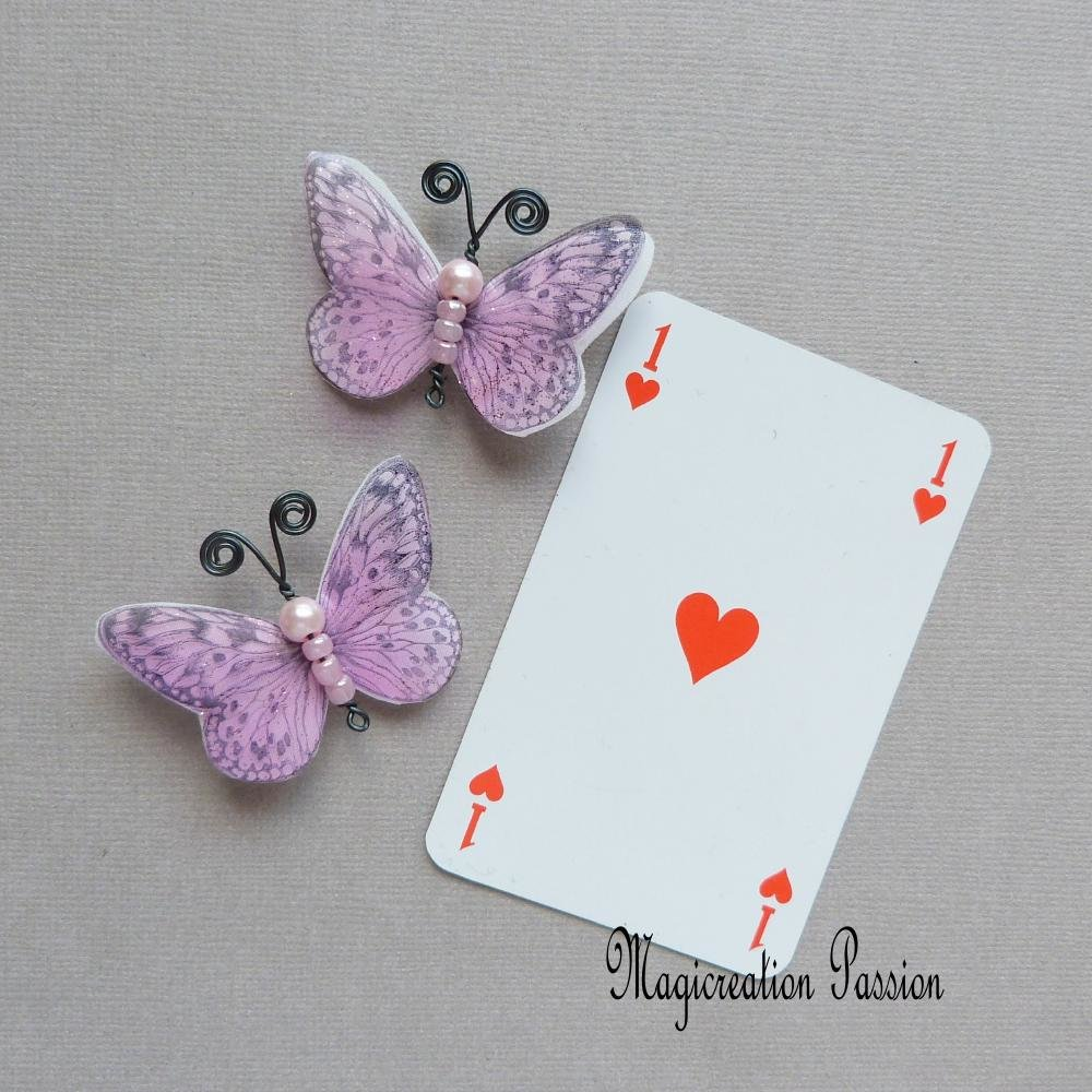 """Pinces anti-glisse papillon double ailes soie blanc et transparent rose """"Apolline"""""""