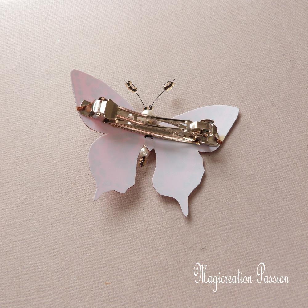 barrette française 6 cm papillon soie marron pailleté , collection Maéva