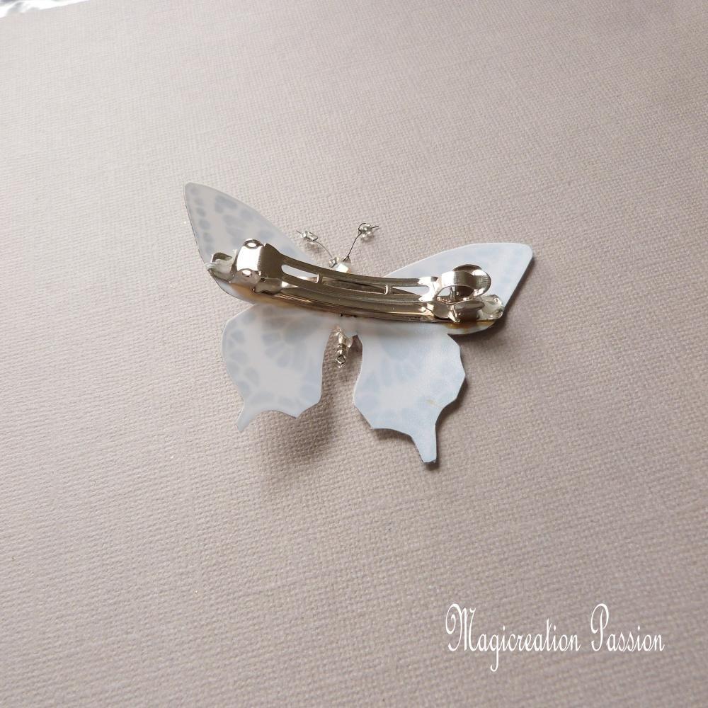 barrette française 6 cm papillon soie blanc pailleté , collection Maéva