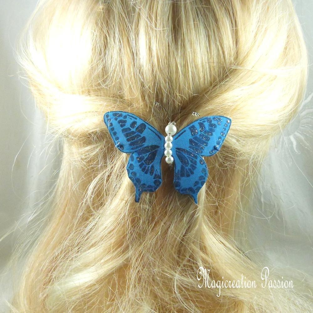 barrette française 6 cm papillon soie bleu pailleté , collection Maéva