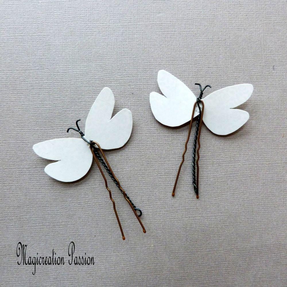 épingles chignon libellules soie blanche double ailes transparentes, lot de 2