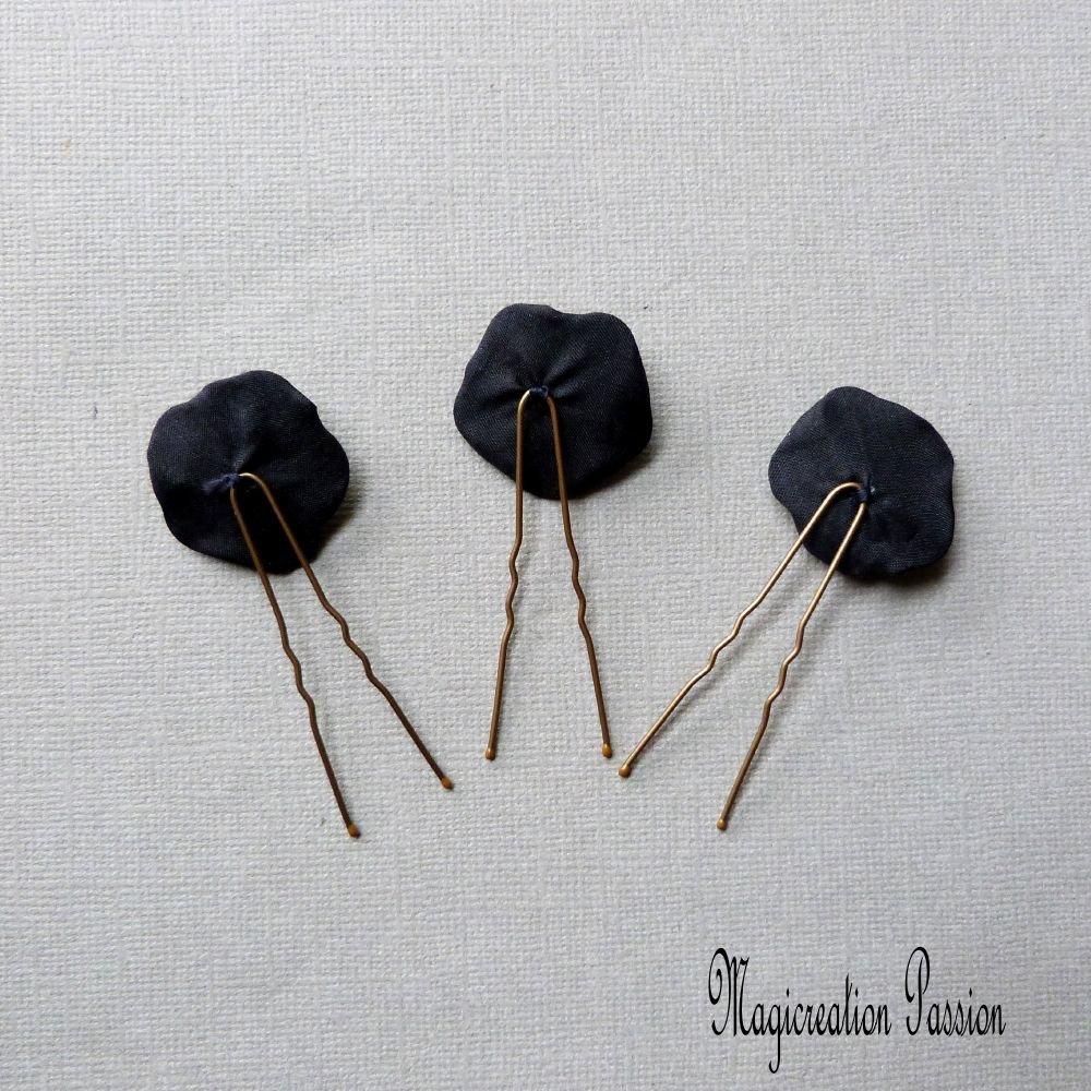épingles chignon fleurs soie noire coeur fleur tissu rouge 2.5 cm, lot de 3