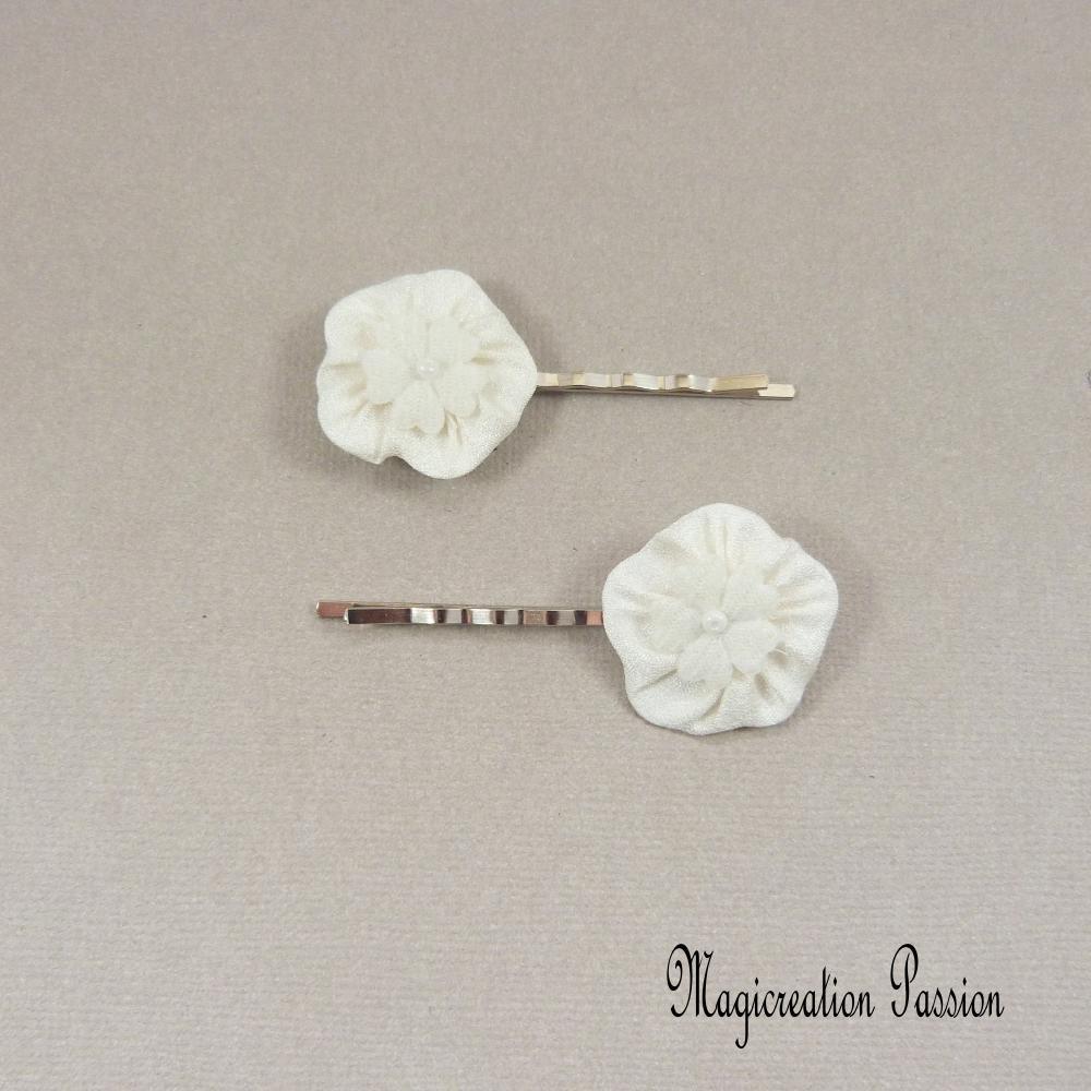 pinces cheveux fleurs de soie blanches, lot de 2
