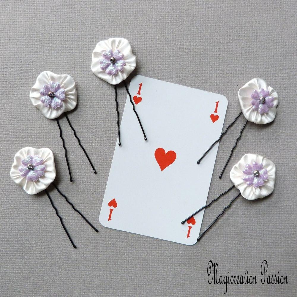 épingles chignon fleurs de soie blanches coeur mauve, lot de 5