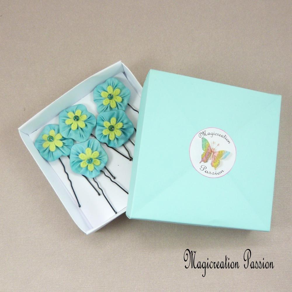 épingles chignon fleurs de soie turquoise coeur vert anis, lot de 5