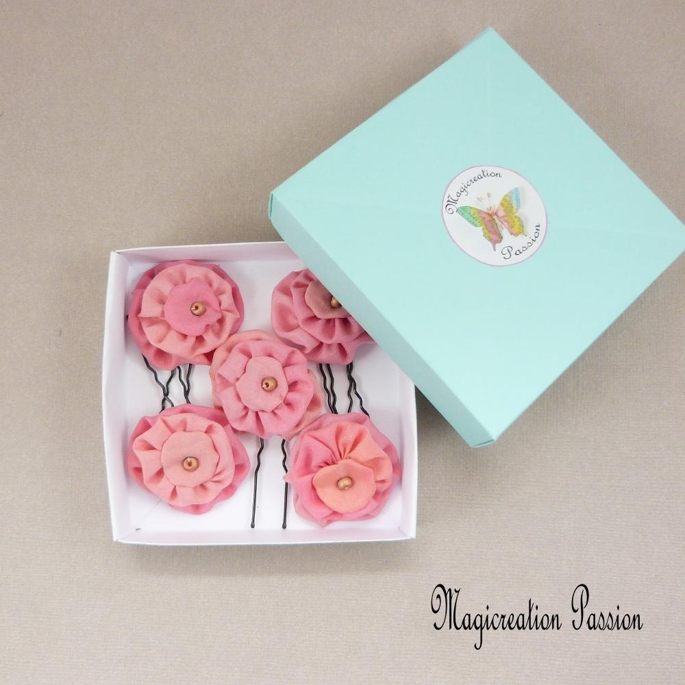 épingles chignon fleurs soie rose ancien, 4 cm, lot de 5