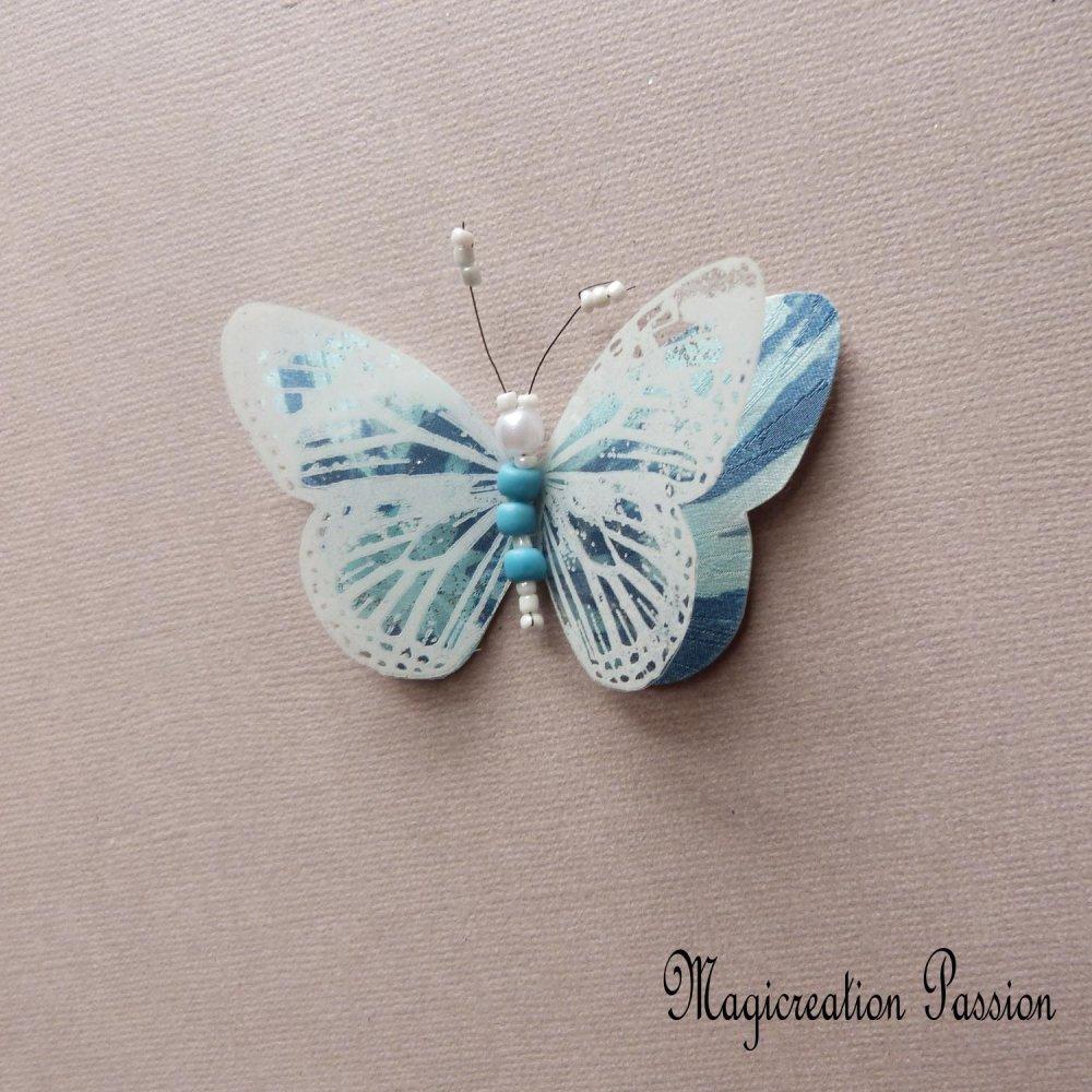 magnet papillon double ailes soie bleu et transparent blanc +1 aimant