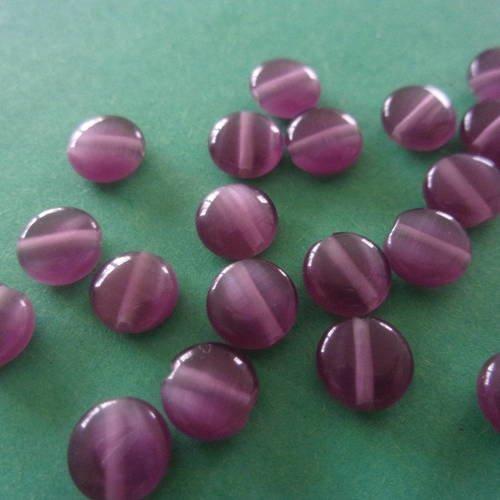 Perle en verre en forme de palet violet et mauve - 6mm