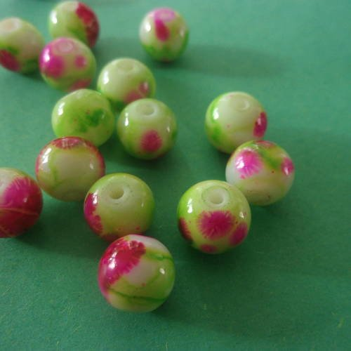 Perle en verre ronde, rose et verte - 8mm