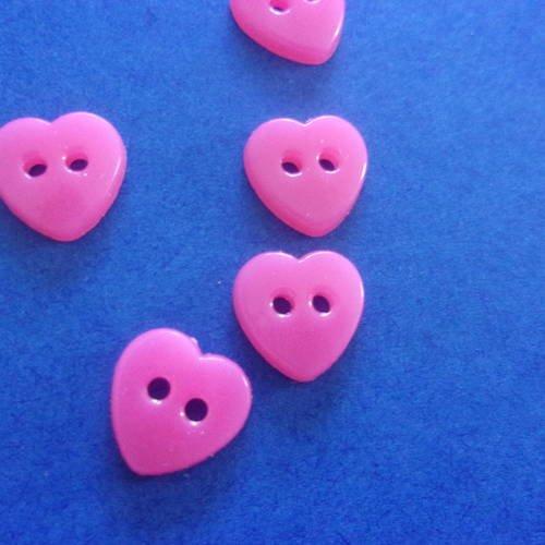 Lot de 5 boutons roses en forme de coeur en acrylique , 2 trous - 12 mm