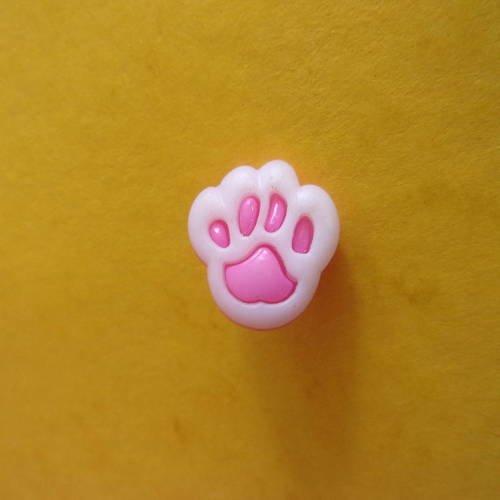 Bouton à queue en forme de patte d'ours rose et blanc en acrylique - 12mm