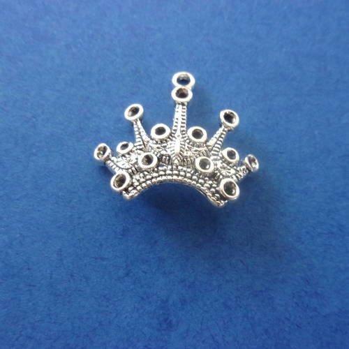 Breloque/charms en forme de couronne, couleur argentée, de style tibétain - 2cm
