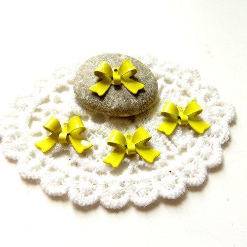 10 noeuds papillon métal émaillé jaune 16mm