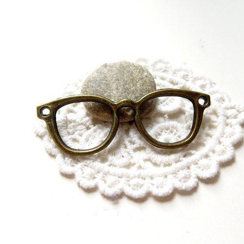 Lot 5 pendentifs connecteur lunettes bronze 57x20mm