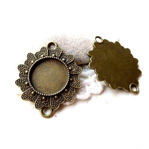 4 pendentifs connecteurs cabochon bronze 16mm