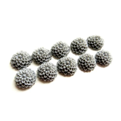 Lot 10 cabochons fleur dahlia gris 10mm