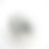2 camé cabochon gris blanc 18x25mm