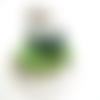 8 perles verre indien ovale vert 12x10mm