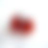 2 perles verre indien losange rouge 15mm