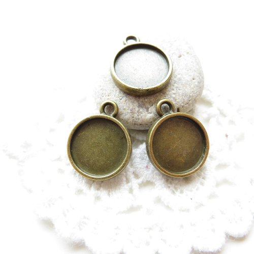 10 supports cabochon bronze 12mm