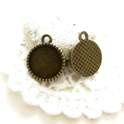 20 supports cabochon bronze 12mm