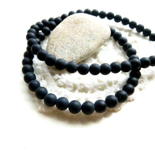 40 perles onyx noir mat ronde 4mm