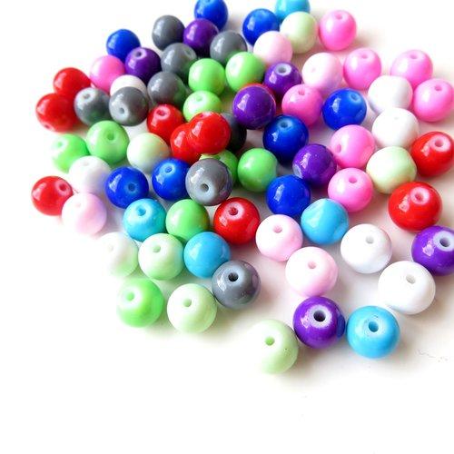 50 perles verre ronde 8 mm