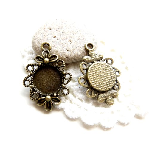 4 supports cabochons bronze 12mm