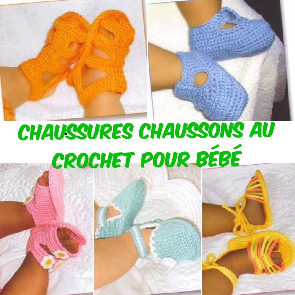 Chaussons,chaussures pour bébé,fabrication fait main au crochet