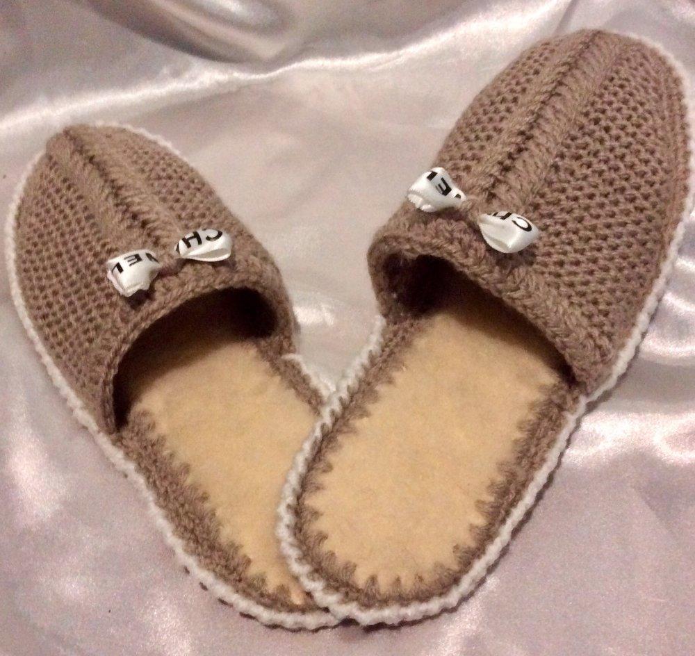 Chaussons pantoufles  à semelles tricot et crochet fait main pour femme,fille