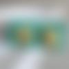 Boucles d'oreilles puces gourmande fimo - gauffres coulis avec tranches banane / miniature food bijou