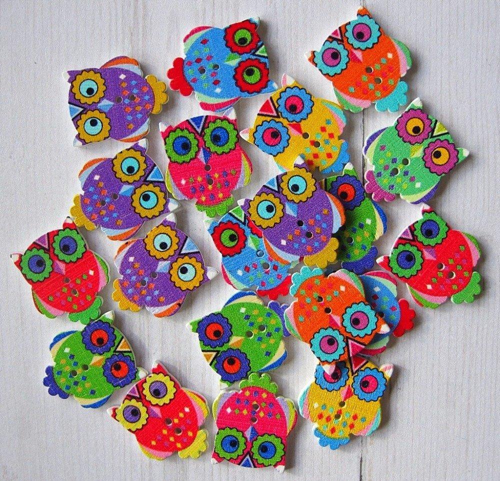 Lot de 4 boutons en bois hibou coloré  (6) (couleur mixte)