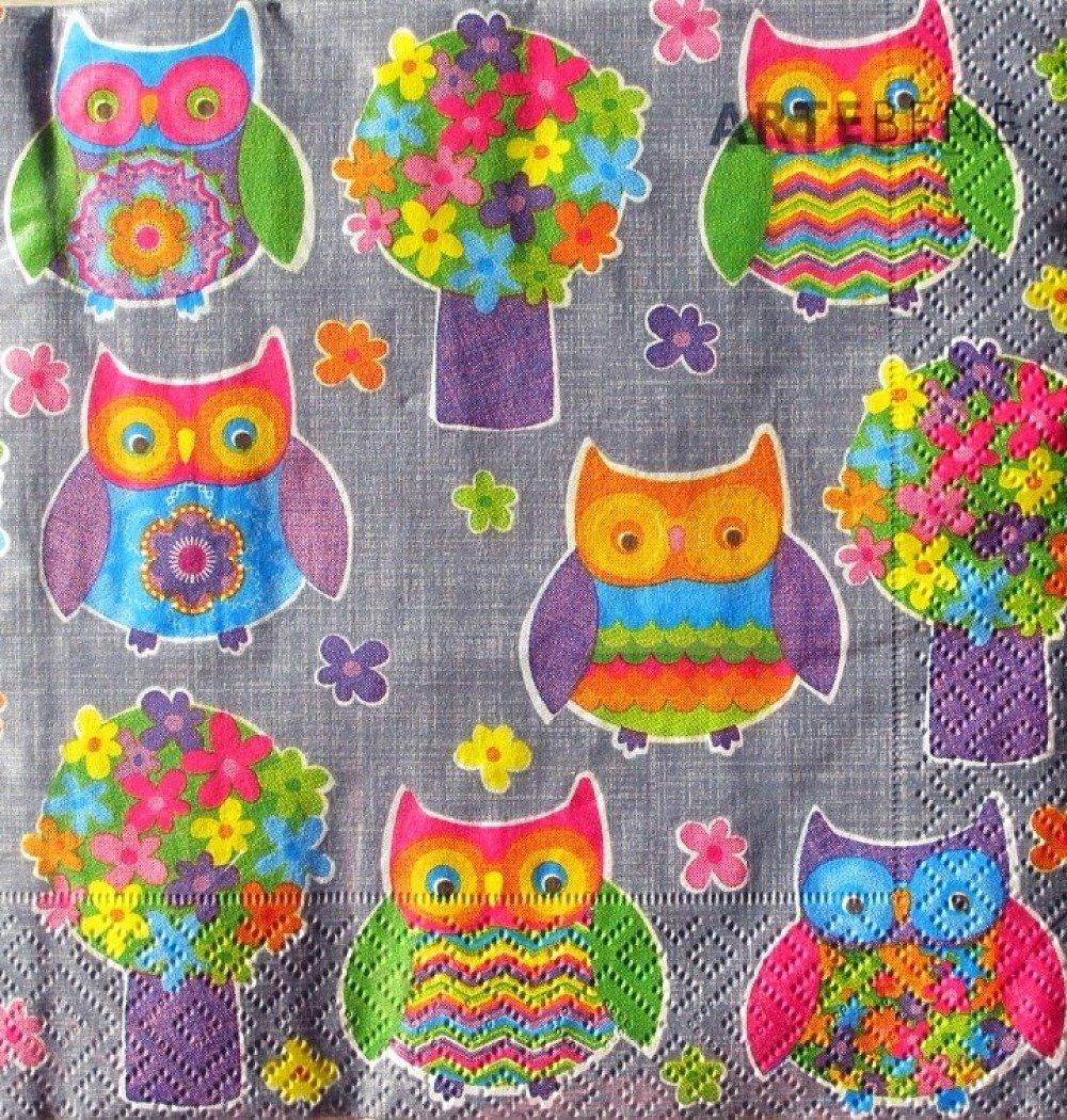 Lot de 2 serviettes en papier - Hiboux colorés