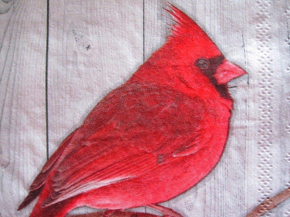 Lot de 2 serviettes en papier - Oiseau rouge (Cardinal)