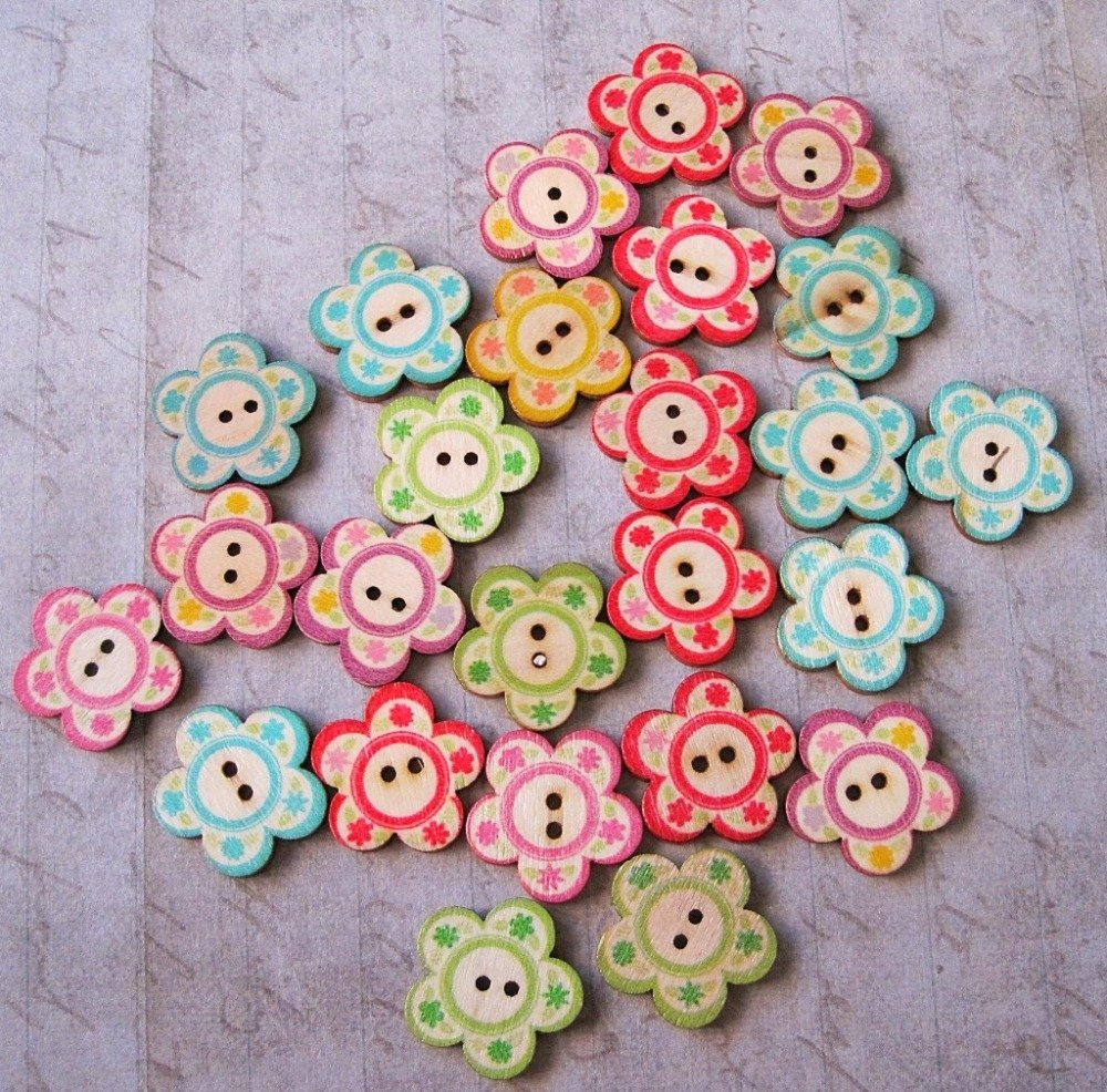 Lot de 4 boutons en bois fleurs multicolores
