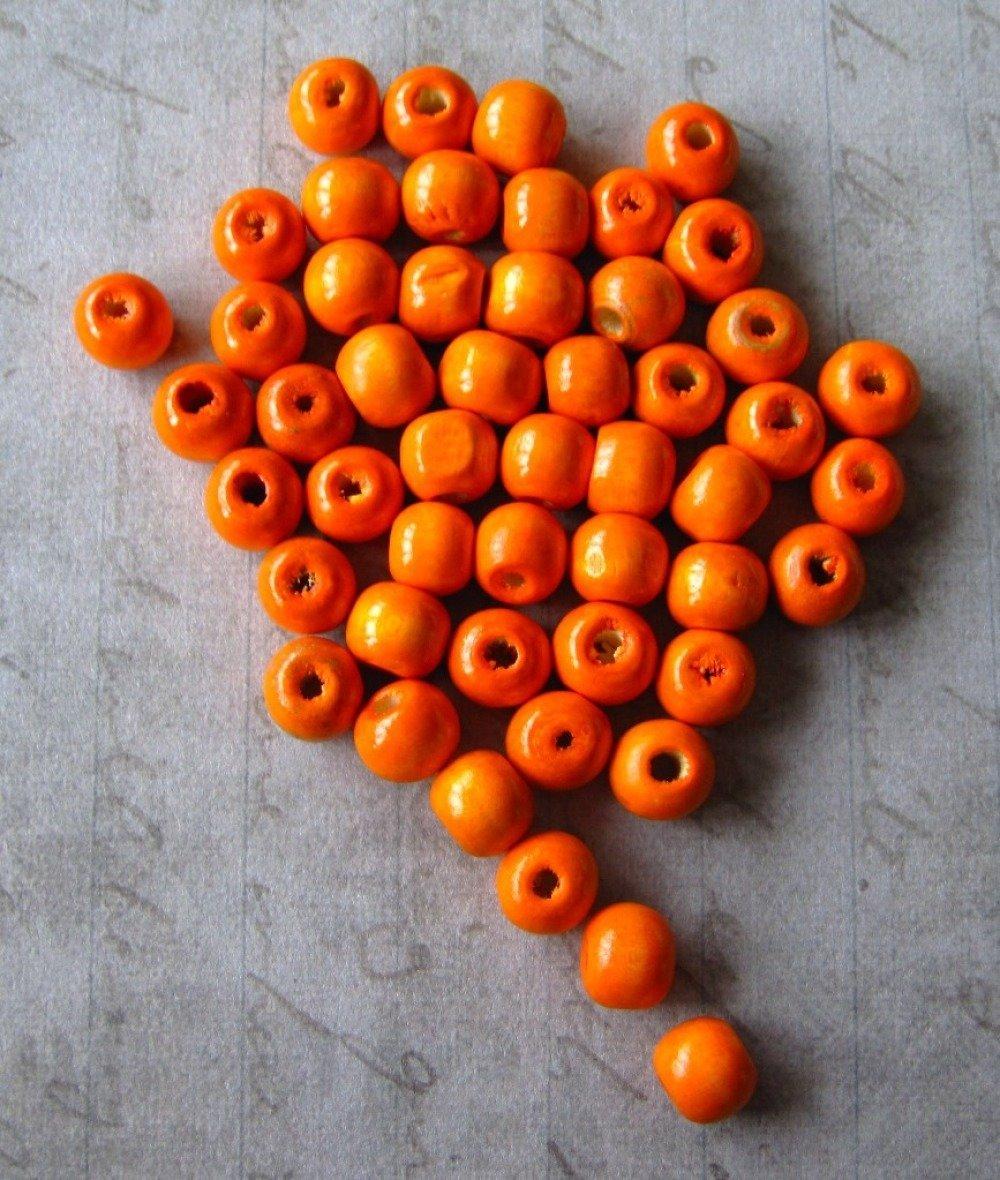 Lot de 10 perles en bois orange 10mm