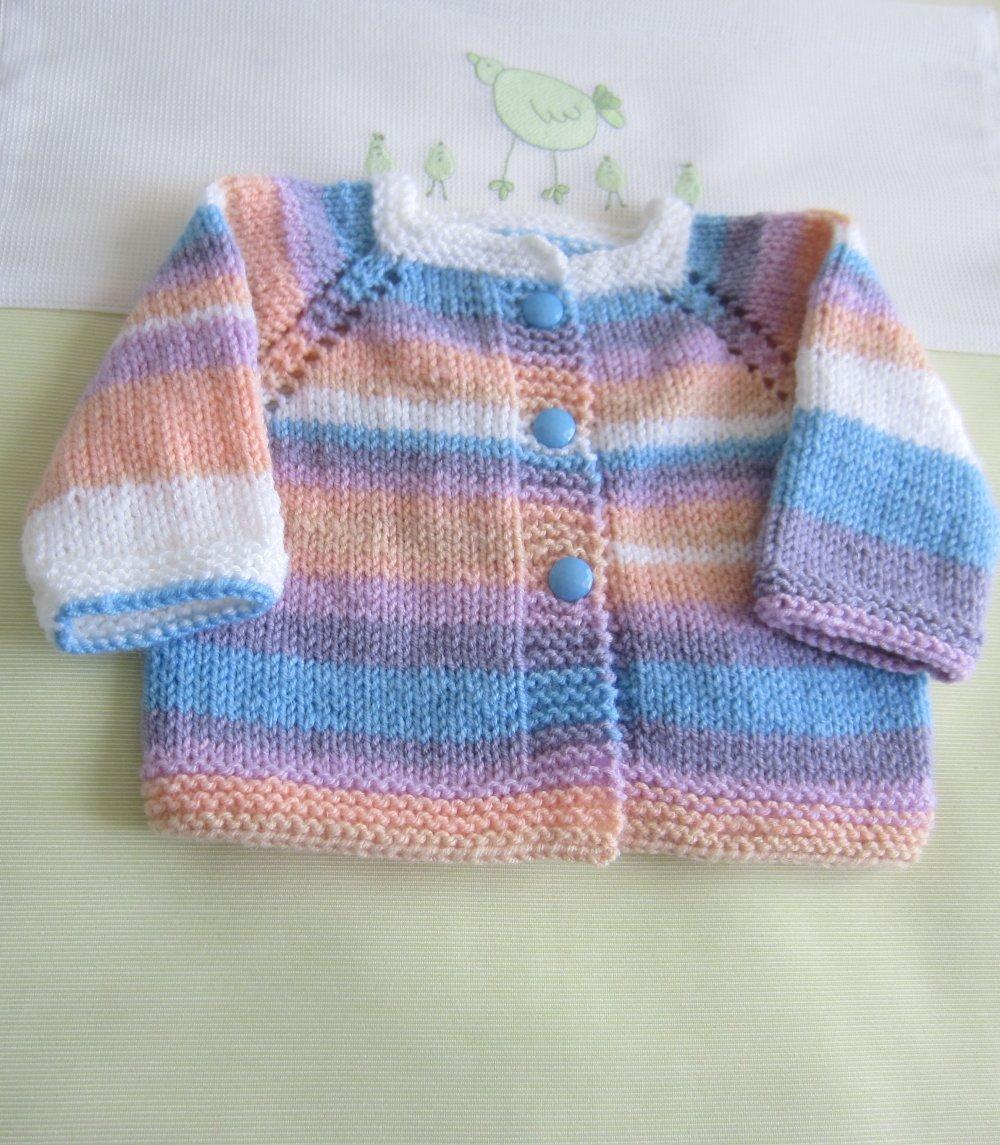 Veste bébé naissance coloris multicolore - Fait Main au tricot