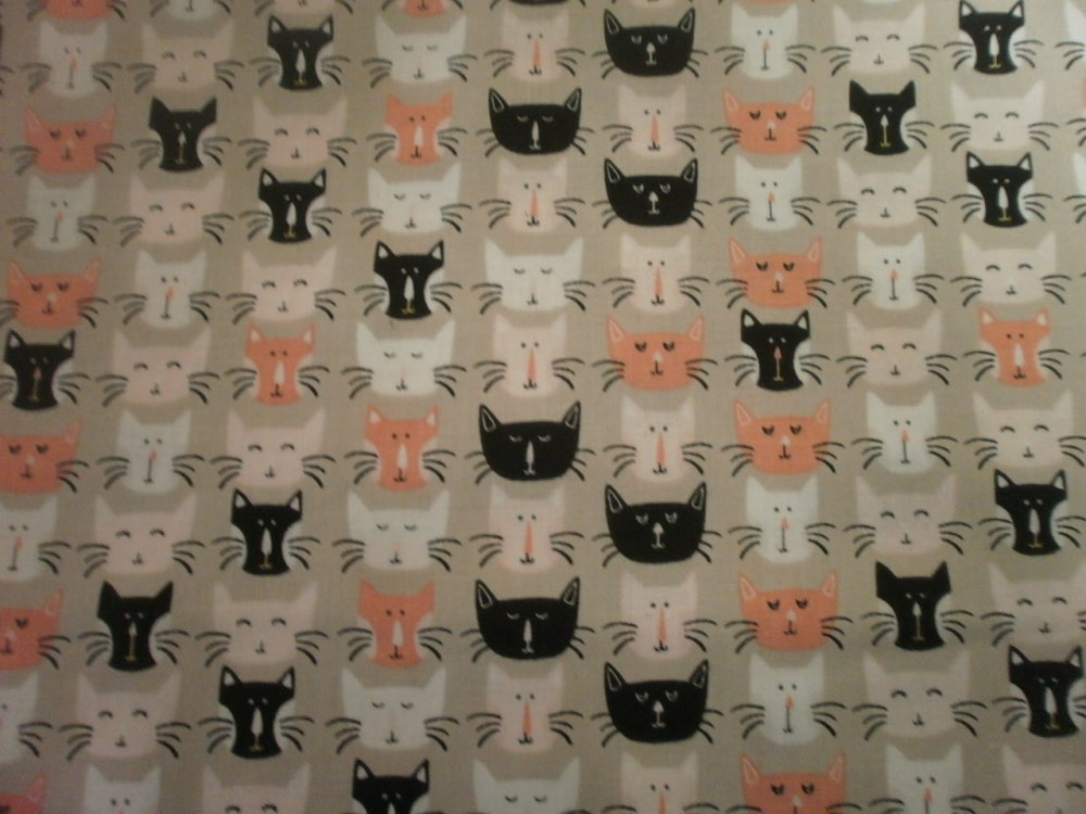 TISSU PATCHWORK - CHATS - MEOW - coupon 45 x 55 cm