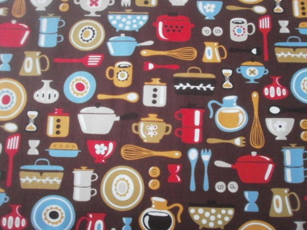 TISSU PATCHWORK - MOD KITCHEN - coupon 45 x 55 cm