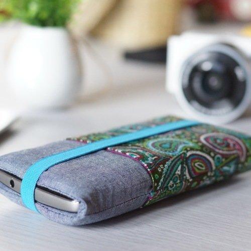 Housse smartphone tissu ethnique, etui iphone , pochette samsung galaxy, coque fourrée téléphone portable, sur mesure, cadeau femme