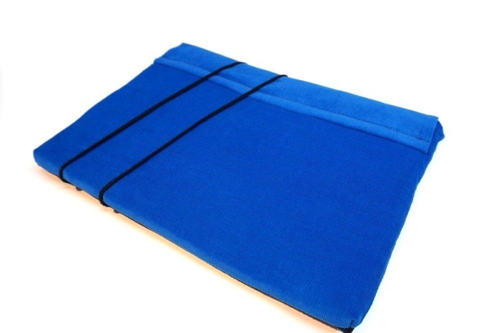 """Housse ordinateur portable 14"""" tissu japonais, Etui MacBook Pro 13, Lenovo, Asus,  sur mesure, lin bleu marine et velours"""