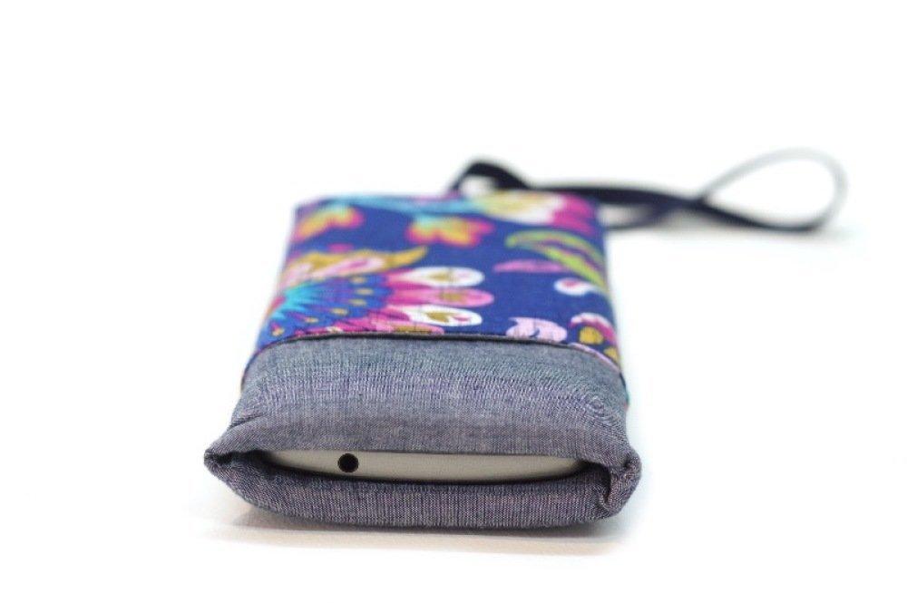 Coque tissu téléphone portable, housse matelassé portable, étui iPhone X, samsung galaxy, tissu ethnique, cadeau anniversaire