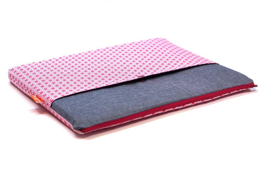 """Housse ordinateur 15 pouces, étui tissu japonais MacBook Pro 15, housse Lenovo 15 pouces, pochette 15"""" cadeau femme, saki rose"""