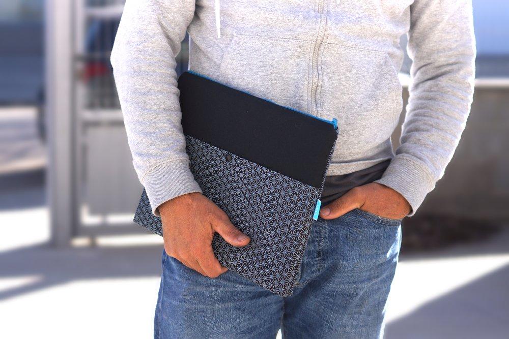 """Housse MacBook Air 11"""", étui tissu japonais MacBook 12, housse ordinateur portable 11 pouces, Sac ordinateur avec poche, homme"""