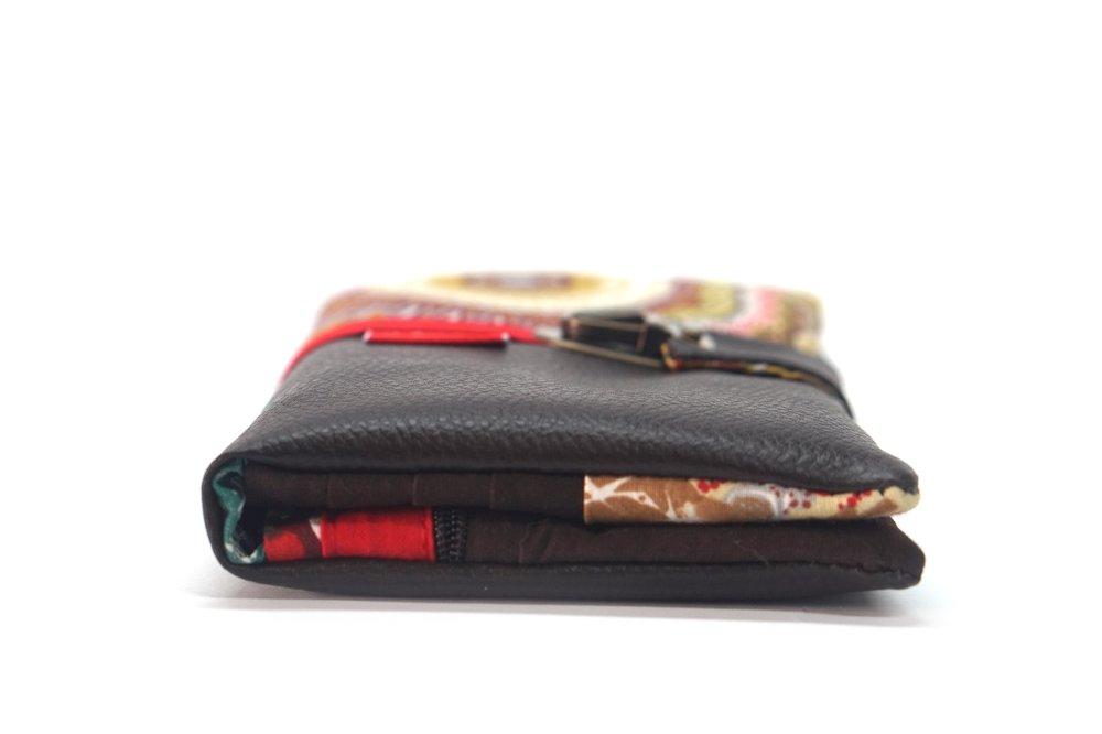 Portefeuille compagnon femme cuir marron tissu mandalas, grand portefeuille fermeture cartable, cadeau femme, saint Valentin, fait main