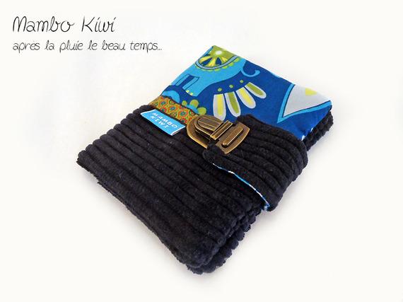 Portefeuille ethnique motif éléphants en velours avec fermoir cartable, Porte cartes tissu ethnique, cadeau pour femmes, vintage