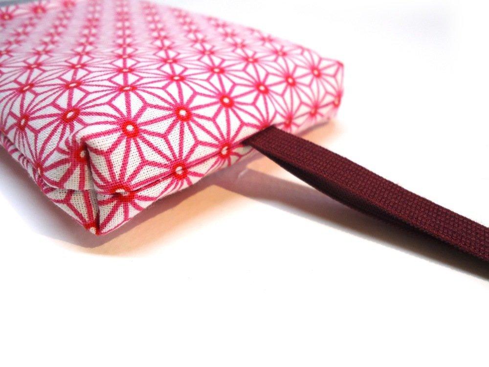 Housse iPhone 7 plus tissu japonais rose, étui japonais sur mesure téléphones portable