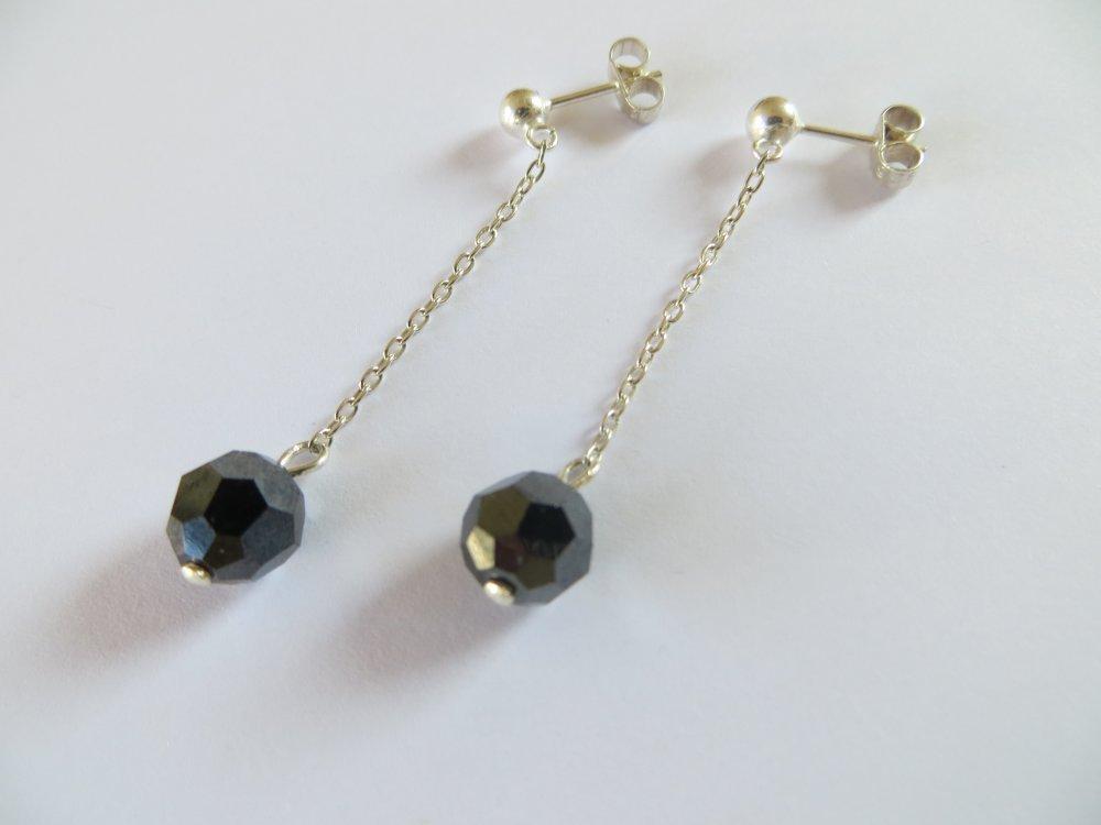 Boucles d'oreilles argent 925 et  perles cristal Swarovski .