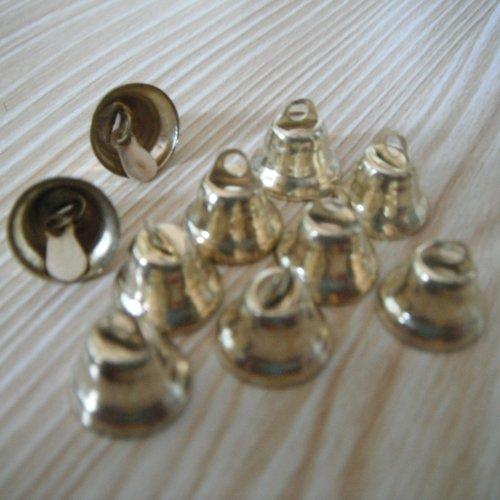 Lot de 10 clochettes metal dore