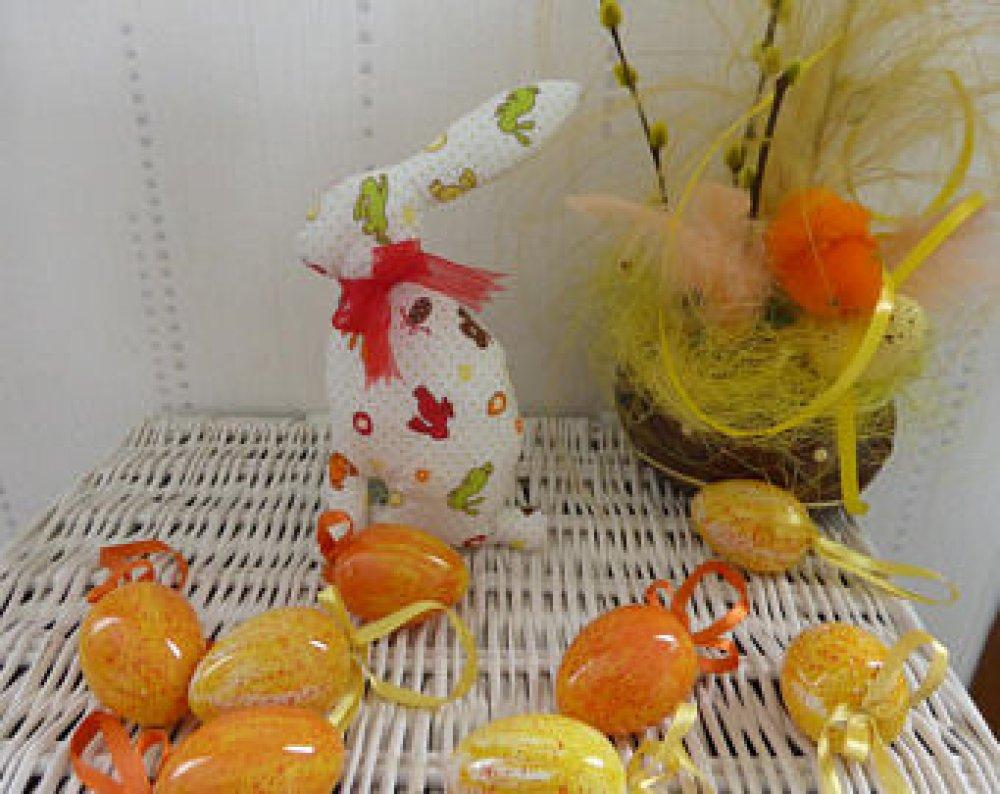 Lapin de Pâques Déco ou Doudou - ruban rouge